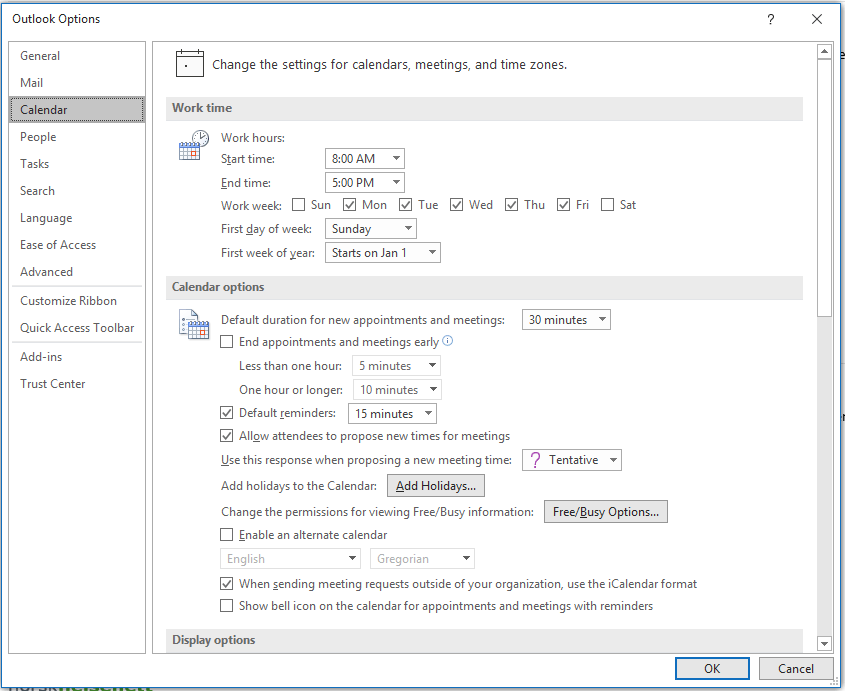 Screenshot of Outlook Options, showing the Calendar options.