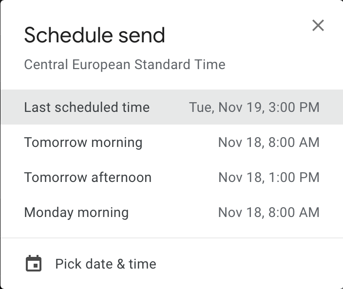 Screenshot of date and time picker for Schedule send in GMail