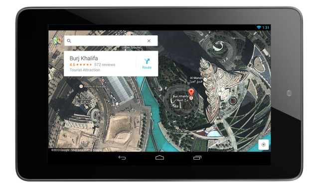 new Google Maps for Android tablets