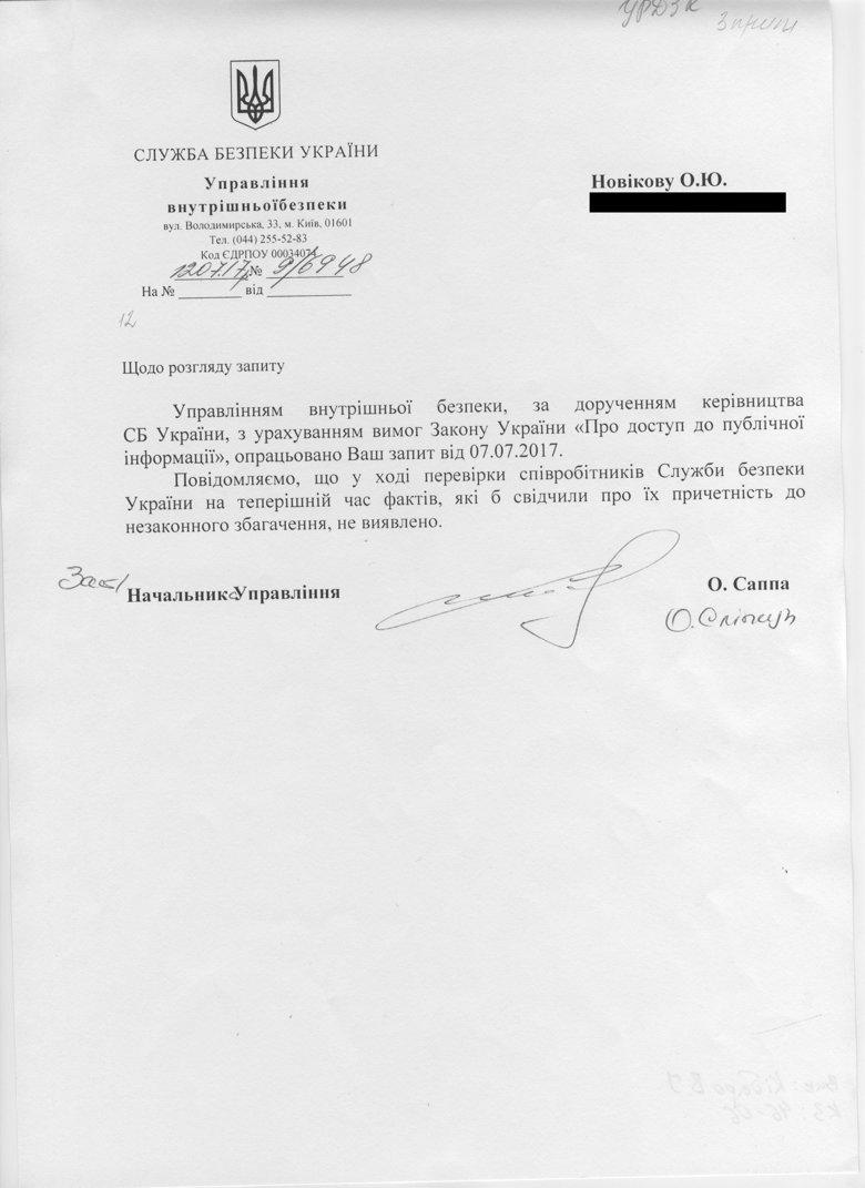 СБУ не виявила фактів незаконного збагачення своїх співробітників