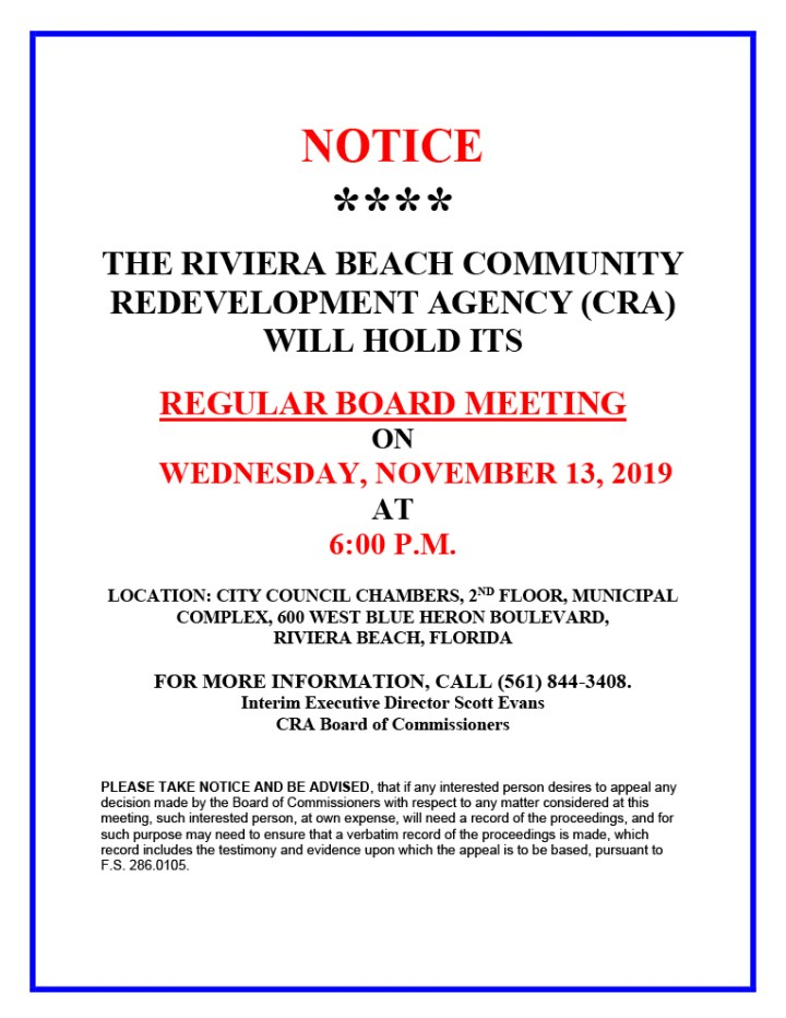 CRA Regular Board Meeting