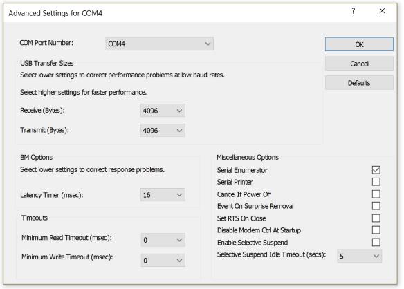 Choosing a COM port for the 9103