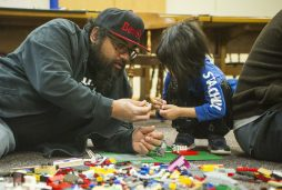 Casper Deleno, left, and his child, Winter Deleno, 5, of Riverside, play with Legos together on Saturday, Jan. 25, 2020, during a LegoPalooza event in the children's section at the Riverside Public Library. | ALEX ROGALS/Staff Photographer