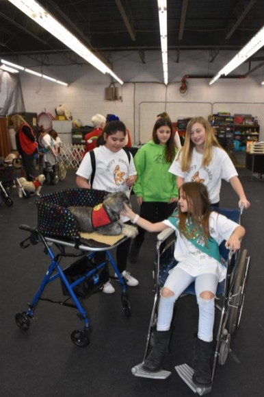 Girl Scouts Paloma Mendoza, Olivia Tomas, Niabi VenHorst and Sophia Melchiors (in wheelchair) demonstrate the need for the Puppy Pushers, which allow small therapy dogs more closely interact with patients in wheelchairs or hospital beds. | Provided