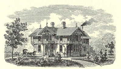"The John C. Dore Cottage, as it appeared in the Riverside Improvement Company's sales brochure, touting Riverside as a country retreat for Chicago's elite. (Courtesy of ""Riverside in 1871, with a Description of its Improvements"")"
