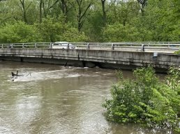 Salt Creek rose to the underside of the Washington Avenue bridge by Monday morning. (Bob Uphues/Editor)