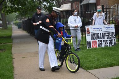 U.S. Marine Marlin Grant Sr. surprised his son on May 19 when he returned to the Grant family residence (photo provided by Joe Trost).