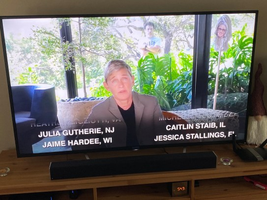 Ellen DeGeneres announces the winners of 50 Visa gift cards, including Hauser Junior High teacher Caitlin Staib, during her television show on May 14. Staib says she's using the money to buy year-end gifts for her special education students. (Courtesy of Caitlin Staib)