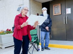 Dorothy Ball reads about the meaning of Pentecost during the Holy Guard Angels Pentecost vigil at St. Barbara Church in Brookfield on May 30.