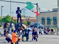 Demonstrators called for unity while protesting the death of George Floyd during a march that closed the intersection of Harlem and Cermak on June 3. (Bob Uphues/Editor)