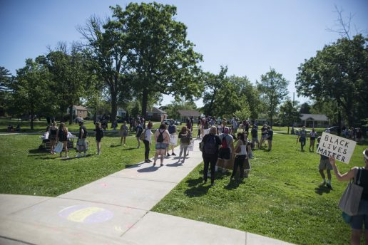 Demonstrators gather together on Saturday, June 6, 2020, during a Black Lives Matter protest at Kiwanis Park in Brookfield.   ALEX ROGALS/Staff Photographer