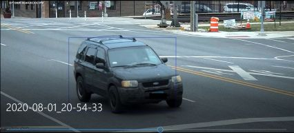 A Riverside surveillance camera shows a Ford SUV suspected of being involved in the incident crossing the BNSF tracks southbound on Harlem Avenue. | Photo courtesy of Riverside Police