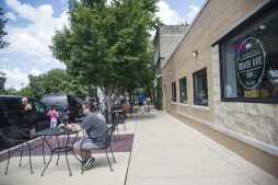 The outdoor dining area is seen on Aug. 2, during brunch at Beach Ave BBQ. (Alex Rogals/Staff Photographer)