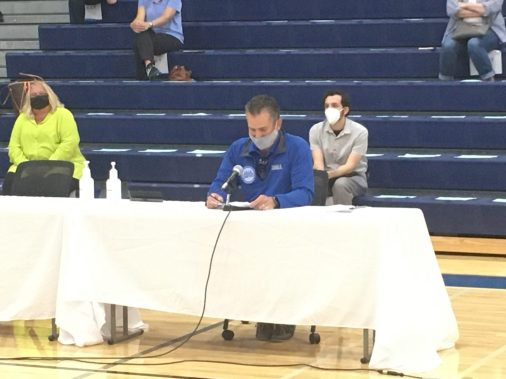 RBEA President Dan Bonarigo reads a statement in support of remote learning prior to the school board's Aug. 11 unanimous vote to adopt a hybrid option that included in-person attendance. (Bob Skolnik/Contributor)