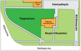The Hollywood Citizens Association has agreed to lease about 10,300 square feet of land north and west of the Hollywood House to District 96 for an expanded playground. The school district will also improve the association's driveway, which leads to the Hollywood School's parking lot.