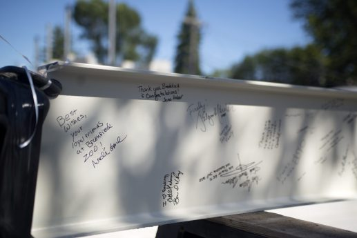 Well-wishes from library supporters on a pair of steel I-beams will become a permanent part of the new facility. (Alex Rogals/Staff Photographer)