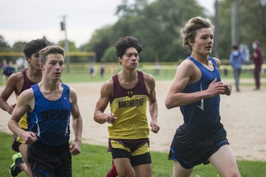 "The RBHS varsity boys cross country team competes on Oct. 3,against Northridge Prep during the team's ""senior celebration"" meet at Ehlert Park in Brookfield. (Alex Rogals/Staff Photographer)"