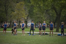 The varsity RBHS boys cross country team gets on the starting line before the race on Oct. 3, during the senior celebration meet against Northridge Prep at Elhert Park in Brookfield. (Alex Rogals/Staff Photographer)