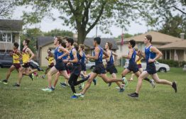 The varisty RBHS boys cross country starts off at the starting line on Oct. 3, during the senior celebration meet against Northridge Prep at Elhert Park in Brookfield. (Alex Rogals/Staff Photographer)