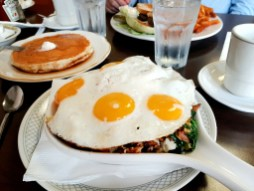 The Popeye Skillet, brimming with bacon, spinach and mushrooms came topped with a whopping four eggs despite the fact the menu says it is served with two. (MELISSA ELSMO/Food Editor)