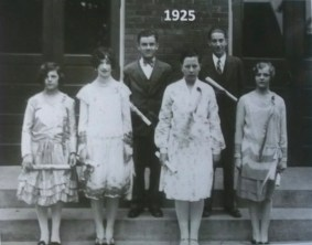 Best available photo of the Class of 1925, the first to graduate; no names given. Photo courtesy of Chris Stach.