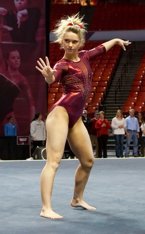 """Riverside's Haley Scaman is the 2014 Big 12 Gymnast of the Year. She's also scored a perfect """"10"""" three times this season. (Courtesy Oklahoma University Athletic Department)"""