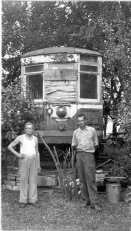 After West Towns scrapped most of its fleet when they closed the streetcar line in 1948, several streetcars, including Car 141, ended up on DuPage County farms. Cars 140 and 141 ended up on a farm along Ogden Avenue in Lisle. In 1959, Car 141 (above) served as a storage shed until it was purchased by the Electric Railway Historical Society. The car was later sold to the Illinois Railway Museum. (Photo courtesy of the Illinois Railway Museum Library)