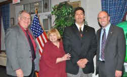 Newly installed Riverside Township Lions Club President Joe Dvorak (at right) with other officers (from left) Robert J. Lifka, third vice president; JoAnne Kosey, second vice president; and Alex Gallegos, first vice president.
