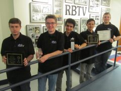 Riverside-Brookfield High School students (from left) Robert Ripoli, Colin Hughes, Lisandro Resto, Jason Goo and Mike Frushour were honored with awards by the National Association of Television Arts and Sciences for their work for RBTV.