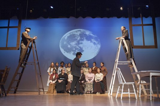 """Welcome back: A scene from the first act of """"Our Town,"""" performed by Riverside-Brookfield High School. This the first time in four years Riverside-Brookfield has had a fall play."""