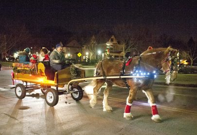 Attendees to the Riverside Holiday Stroll can take a horse-drawn wagon ride. (David Pierini/staff photographer)
