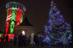Santa also visited Riverside on Friday, Dec. 5, during that village's Holiday Stroll, pushing the button to light up the water tower and a fir tree in Centennial Park in downtown Riverside. (Photo by Rick Majewski)