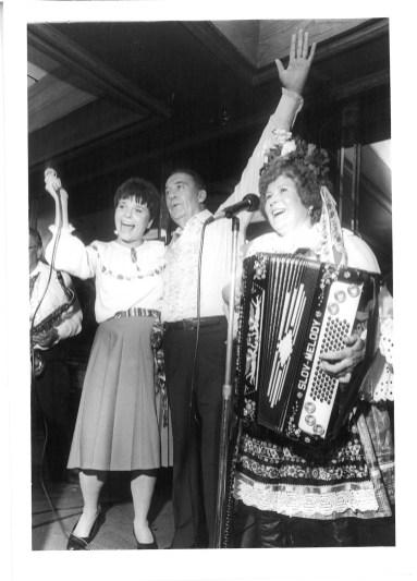 Judy Baar Topinka (left) hams it up with Vlasta Krsek, the Queen of the Polka, at an event.