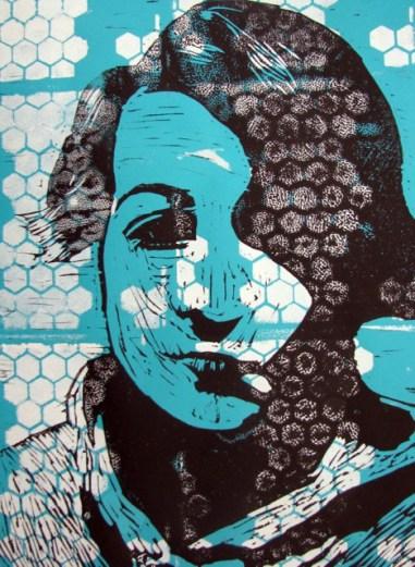 This self-portrait by 8th-grader Charlotte Chorzepa.