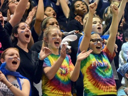 Trinity High School's student section cheers their team on to an early 18-9 lead. (Curtis Schuelke)