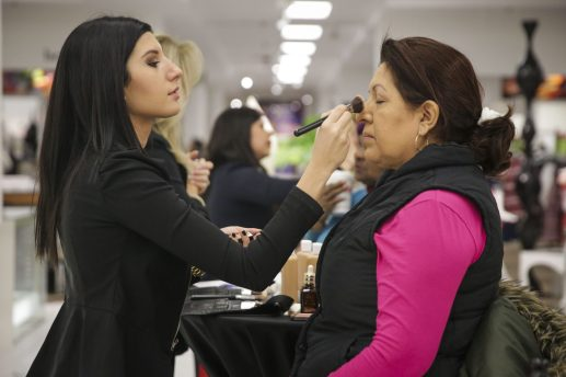 Customers in the cosmetics department of Carson Pirie Scottat at North Riverside Park Mall during their grand re-opening on Thursday, Feb. 26. | Photo by Chandler West/Staff Photographer