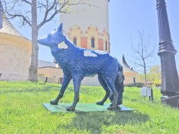 """Sky-ote,"" one of 31 coyote decoys that will appear in downtown Riverside prior to the Riverside Arts Weekend on May 16-17. 
