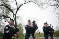 The Bagpipes and Drums of the Emerald Society play at the end of the 14th Annual Memorial Ceremony honoring peace officers killed in the line of duty. The Ceremony took place at the proposed site of a Cook County Peace Officers Memorial in Lyons, IL on Saturday May 9, 2015. | William Camargo/Staff Photographer