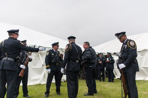Police from around the Cook County area gathered at the 14th Annual Memorial Ceremony honoring peace officers killed in the line of duty. The Ceremony took place at the proposed site of a Cook County Peace Officers Memorial in Lyons, IL on Saturday May 9, 2015. | William Camargo/Staff Photographer