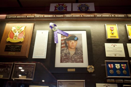 A photo of Joshua W. Harris at the Brookfield VFW post in Riverside, IL on Sunday May 31, 2015. The VFW post was renamed after Joshua W. Harris at a ceremony a week ago.
