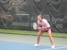 Carrie DeLange readies herself to return serve during a Gladiator Tennis match. (Courtesy Steve Hess)