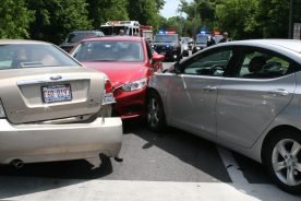 Vehicles involved in the four-car crash at First and Forest/Ridgewood on June 10 wait to be towed from the scene. (Photo courtesy of the Riverside Police Department)