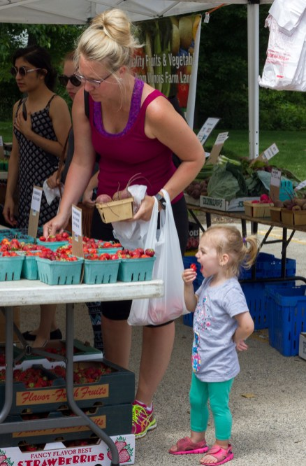 Jayne Jacobson, right, eats a strawberry as her mom, Kathleen, left, shops at the Brookfield Farmers Market on Saturday, June 13, 2015.| Photo by Jennifer T. Lacey