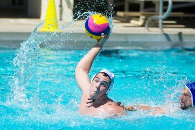 UCLA junior Matt Farmer, a former water polo star at Fenwick, fires a shot on goal for the Bruins who won the 2014 Men's Water Polo National Championship. (Courtesy Jim Farmer)
