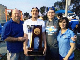(From left): Jim, Matt, Danny and Beatrice Farmer celebrate UCLA's 2014 Men's Water Polo National Championship together. Matt, a key player for the Bruins, will be a junior next season. (Courtesy Jim Farmer)