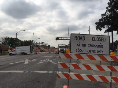 The BNSF closed the Harlem Avenue grade crossing on Thursday morning. It will be shut down for improvements until Sept. 4. (Photo by Bob Uphues)