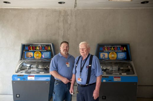 Mold Men: Paul Jones (left) and his father, Bill Jones, want to create a special mold to celebrate Mold-A-Rama's 50th anniversary at Brookfield Zoo in 2016. Bill Jones bought the Chicago-area Mold-A-Rama territory in 1971, expanding his operation in the 1980s.
