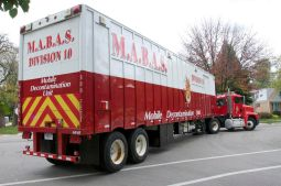 The MABAS Division 10 mobile decontamination unit rolls into Brookfield for the HAZMAT event on Monday, Oct. 12. (Photo by Deborah Zari/Contributor)