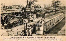 Postcard of Burlington Pioneer Zephyr next to an old-fashioned steam engine, for comparison, at Century of Progress Exposition in 1934. | Photo courtesy of Chris Stach
