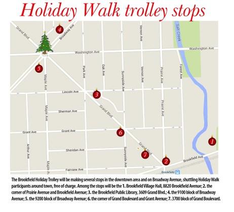 Holiday Walk trolley stops